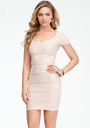 Cap Sleeve Wave Textured Dress - ONLINE EXCLUSIVE at bebe