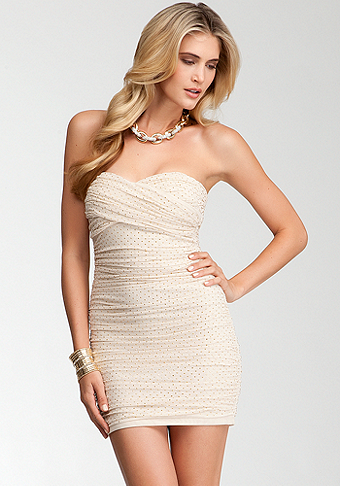 bebe Studded Strapless Mesh Dress