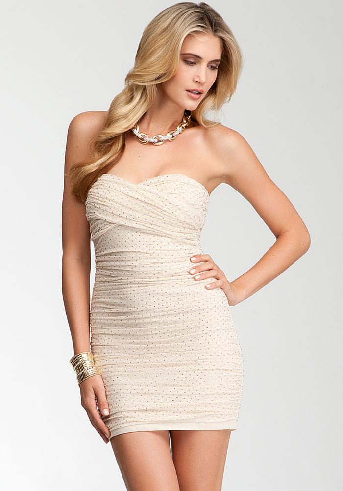Studded Strapless Mesh Dress