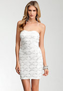 bebe Embellished Lace Strapless Dress