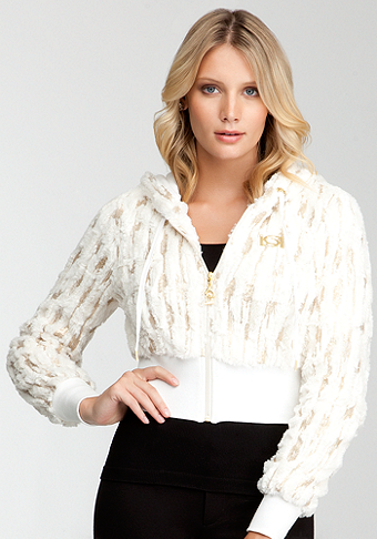 Sequin Faux Fur Hoodie - ONLINE EXCLUSIVE at bebe
