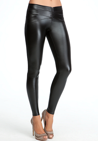 bebe Zipper Front Wet Legging