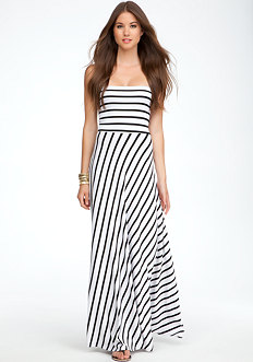 bebe Strapless Stripe Maxi Dress