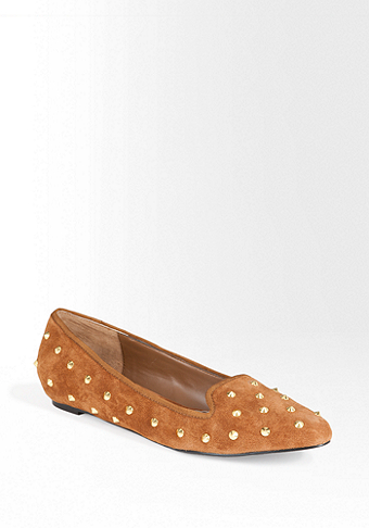 bebe Lotus Spike Stud Leather Flat