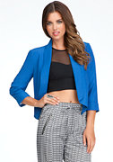 bebe 3/4 Sleeve Shawl Collar Crop Jacket