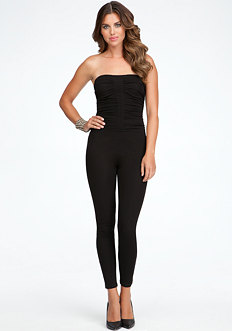 bebe Sleeveless Ruched Jumpsuit