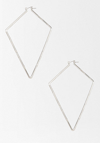 bebe Textured Geometric Hoop Earring