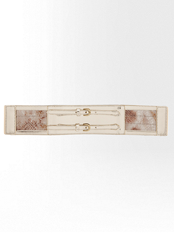 bebe Mirror Exotic Buckle Stretch Belt