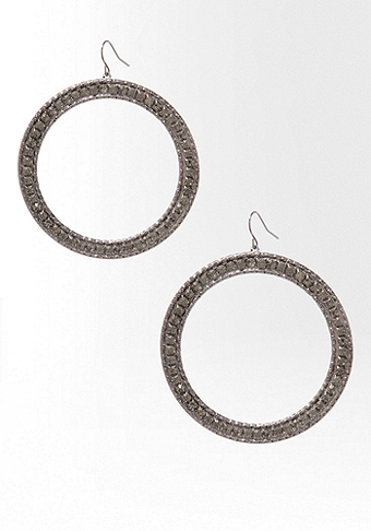 bebe Medium Crystal Hoop Earring
