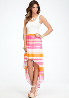 bebe Maxi Jersey Stripe Chiffon Dress