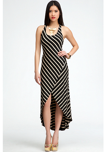 bebe Elastic Back Stripe Hi-Lo Maxi Dress