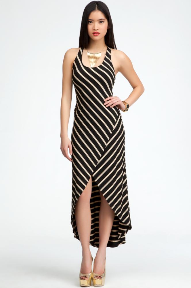 Elastic Back Stripe Hi-Lo Maxi Dress