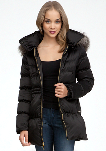 bebe Faux Fur Trim Puffer Jacket