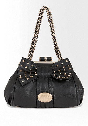 bebe Stephanie Stud Bow Frame Satchel