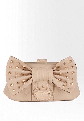 bebe Stephanie Stud Bow Frame Clutch