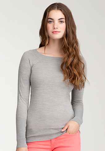 bebe Wool Boatneck Hi-Lo Sweater