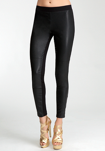 bebe Contrast Leatherette Zipper Legging