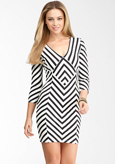 bebe Striped Power Knit Zigzag Dress