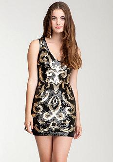 Sequin Patterned Mesh Insert Dress