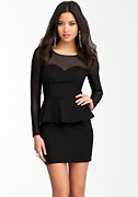 bebe Sweetheart Peplum Mesh Dress