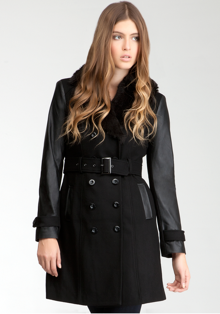 Leatherette Sleeve Faux Fur Collar Wool Coat - Blk - L