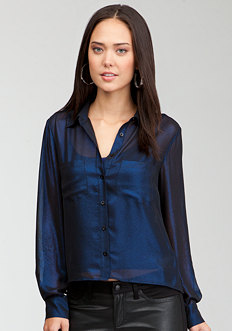 bebe Shimmer Hi-Lo Button Up Blouse