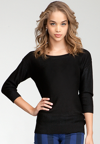 bebe Foiled Boatneck Sweater Top
