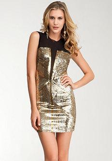 Geometric Sequin Blocked Dress