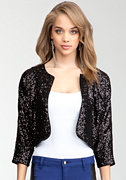 bebe Sequin Soft Crop Jacket