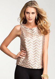 Faux Leather & Sequin Tank