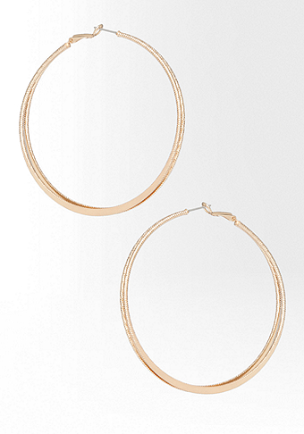 bebe Textured & Mirrored Double Hoop Earring