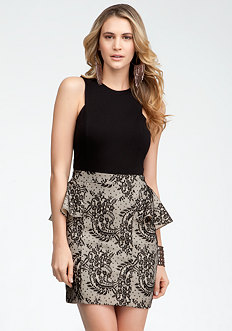 bebe Lace Jersey Peplum Dress