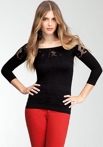 bebe Open Lace Shoulder Top