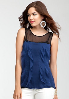 bebe Cascading Ruffle Colorblock Top