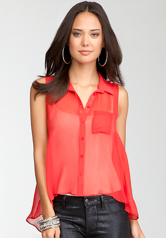 bebe Sleeveless Silk Button Up Hi-Lo Blouse