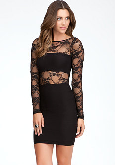 Lace Inset Bodycon Dress - ONLINE EXCLUSIVE at bebe