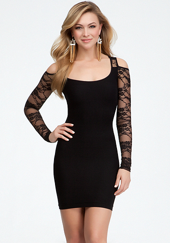 Cold Shoulder Lace Dress - ONLINE EXCLUSIVE at bebe