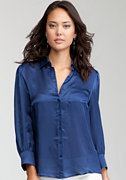 bebe Simple Satin Silk Button Up Blouse