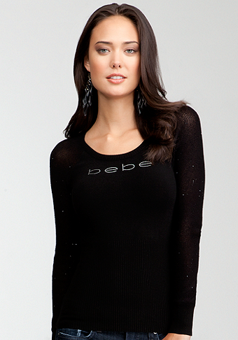 bebe Sequin Sleeve Sweater