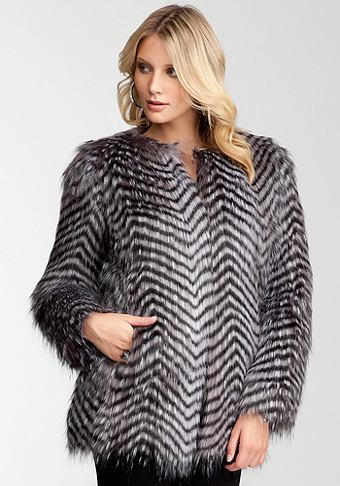 bebe Chevron Faux Fur Coat