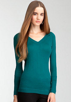 bebe V-Neck Asymmetric Sweater Top