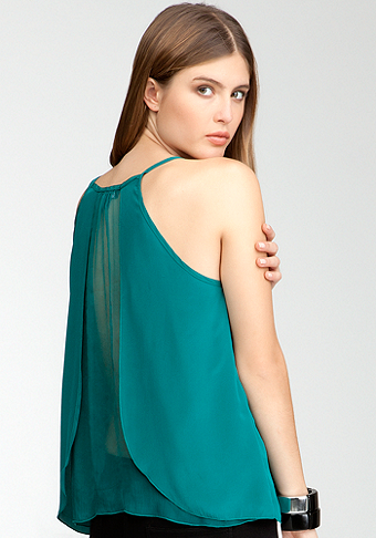 bebe Silk & Sheer Split back Tank