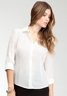 bebe Hidden Placket Basic Button Up Blouse