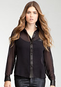 bebe Leatherette Trim Chiffon Button Up Blouse