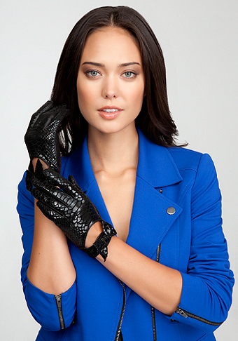 bebe Exotic Embroidered Leather Glove