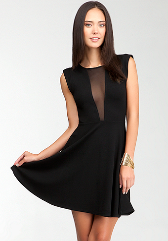 bebe Fit & Flare Sheer Back Dress