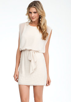 Sheer Top Beaded Skirt Dress - ONLINE EXCLUSIVE at bebe