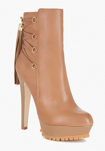 bebe Dani Lace Up Tassel Leather Boot
