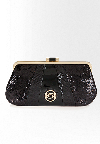 bebe Fabric Block Clutch