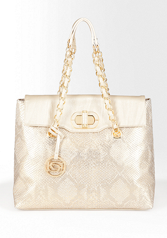 bebe Chain Flap Animal Print Tote